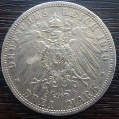 (A705) MONEDA DIN ARGINT GERMANIA, PRUSIA - 3 MARK 1910, LIT. A, WILHELM II