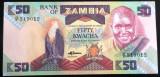 Bancnota EXOTICA 50 KWACHA - ZAMBIA, anul 1986   *Cod 782 ---- NECIRCULATA