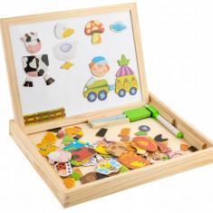 Set Tabla Magnetica Educationala cu Piese Puzzle din Lemn pentru Copii