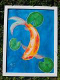 "Tablou pictat manual pictura acrilica ""Chinese Pond"""