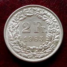 ELVETIA - 2 Franci 1965 B ( Francs - Franken ) Argint - aUNC-UNC luciu de batere