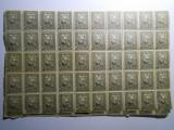 bloc 50 timbre de ajutor, 5 bani negru, tesatoarea