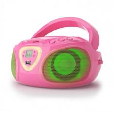 Auna Radio Boombox CD USB MP3 AM / FM Bluetooth 2.1 cu LED Culoare roz