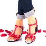 Sandale dama rosi din piele naturala si piele naturala lacuita toc 7cm - NA113B