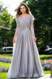 Rochie de seara argintie lunga stralucitoare