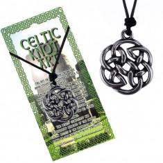 Colier din șnur negru, pandantiv din metal, floare din nod celtic