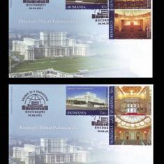 2011 Romania, 2 FDC Palatul Parlamentului LP 1898, plicuri prima zi