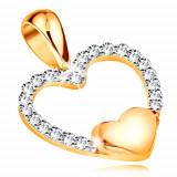 Cumpara ieftin Pandantiv de aur 14K - contur inimă cu zirconii, inima plina in partea de jos