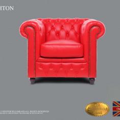 Fotoliu din piele naturală-Roșu Clasic-Autentic Chesterfield Brand