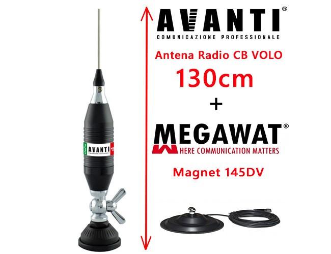 Set Antena Radio CB AVANTI Volo 130cm cu Magnet Megawat 145DV prindere fluture