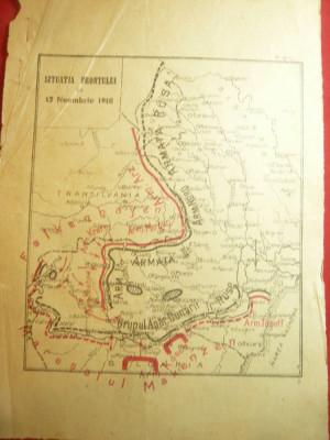 Harta- Fortele Militare Romanesti- Situatia Frontului 12 nov. 1916 ,dim.=16,5x23 foto