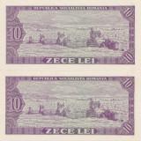 ROMANIA RSR 2 X 10 lei 1966  UNC SERIE CONSECUTIVA