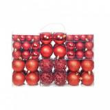 Set globuri de Crăciun 100 de piese, 6 cm, roșu