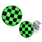 Cercei din oţel, tablă de şah verde cu negru