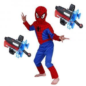 Set costum Spiderman S 100 110 cm si doua lansatoare cu ventuze