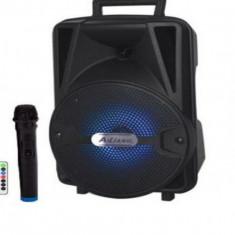 Boxa audio portabila cu bluetooth  lumini woofer  microfon cu fir telecomanda