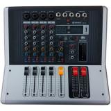 Mixer audio profesional cu amplificare, 4 intrari microfon, USB si 4 canale WVNGR KA-40