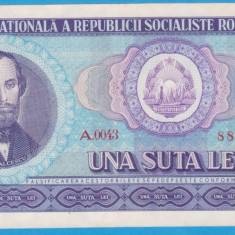 (4) BANCNOTA ROMANIA - 100 LEI 1966, PORTRET NICOLAE BALCESCU. STARE FOARTE BUNA