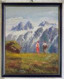 Tablou – pictură Peisaj montan cu personaje, Peisaje, Ulei, Impresionism