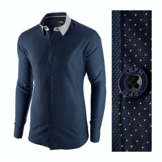 Camasa pentru barbati, bleumarin, slim fit, casual - A La Fontaine, L, M, S, XL, XXL, Maneca lunga