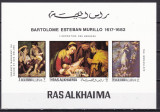 Ras al Khaima  1970  pictura Murillo  MI 349-351 bloc de lux   MNH  w66