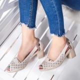 Sandale dama cu toc mic bej Anastia