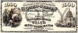 1000 dolari 1875 Reproducere Bancnota USD  ,   Dimensiune reala 1:1