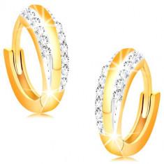 Cercei din aur 14K - cercuri lucioase cu linii din zirconii transparente