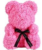 Cumpara ieftin Ursulet floral roz decorat manual cu trandafiri de spuma 25 cm ideal pentru cadou