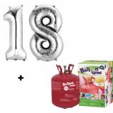 Butelie cu heliu 0.25 mc + baloane cifra 18 argintii dimensiune 101 cm