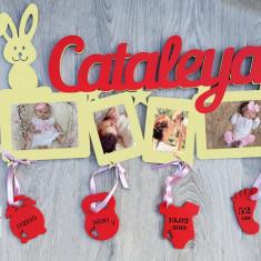 Rama foto personalizat cu datele bebelusului
