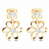 Cumpara ieftin Cercei aur de 14K - formă de floare cu diamante