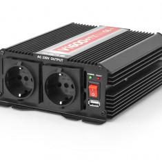 Invertor Transformator Tensiune Auto de la 24V la 230V, Port USB, 2 Prize, Putere 1600W