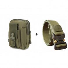 Set Curea + Borseta tip militar, foarte rezistente, Nylon, verde militar