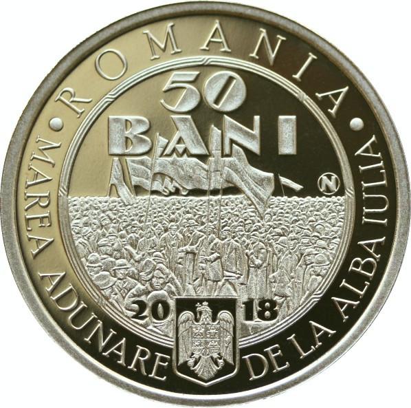 50 bani 100 de ani de la Marea Unire de la 1 Decembrie 1918