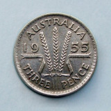 AUSTRALIA  -  3 Pence 1955  -  Argint 1.41 g