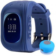 Ceas cu GPS Tracker si Telefon pentru copii iUni Kid60, BT, Apel SOS, Activity and sleep, Bleumarin + Boxa Cadou