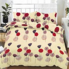 Lenjerie de pat matrimonial cu husa de perna dreptunghiulara, Wish, bumbac mercerizat, multicolor