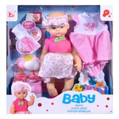 Papusa bebelus cu accesorii Baby Doll, 3 ani +