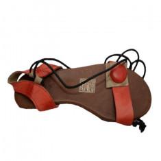 Sandale fara toc, rosii, pe o talpa subtire