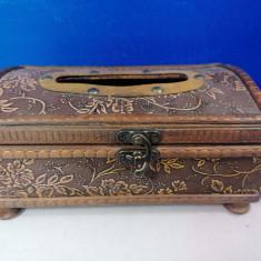 Suport servetele din lemn 21 x 12 x 10 cm, obiect decorativ    /  C12