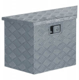 Cutie din aluminiu, 70 x 24 x 42 cm, formă trapez, argintiu