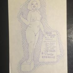Lot 5 schițe erotice spectaculoase (nesemnate, proveniență Franța) Superbe!