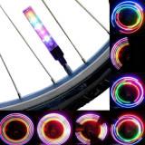 Ventil LED RGB pentru bicicleta, 13 moduri iluminare, functionare baterii AG10, set 2 bucati