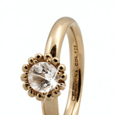 Inel  Crystal Flower, Argint 925 placat cu aur galben 18K, Masura 55