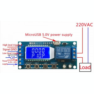 Releu temporizare temporizator timer 6-30 VDC Micro USB