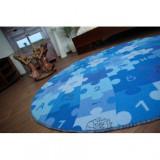 Covor copilăresc Puzzle albastru rotund, kerék 170 cm