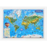 World map for cildren, 3D projection, 450x330mm (3DGHLCP45-EN)