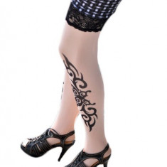 F127 Ciorapi trei sferturi cu model imitatie tatuaj