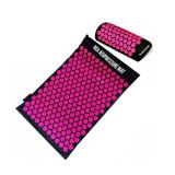 Saltea si perna de masaj cu presopunctura, dimensiune 65x37 cm, negru/roz